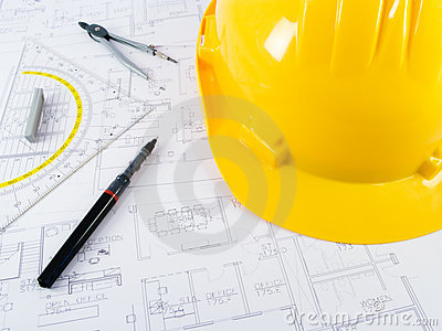 Building projects with architect drawing