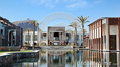 Building, restaurant, swimming pool