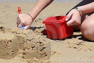 Building Sandcastles on Beach