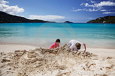 Building sandcastles at Magens Bay