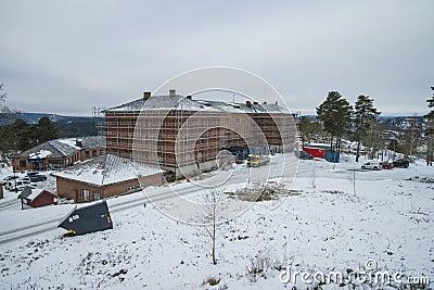 Building scaffolding around the barracks at fredriksten Editorial Photo