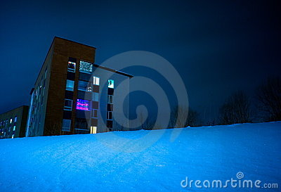 Building in snowy night