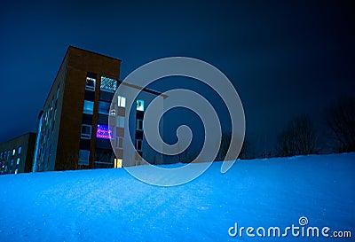 Building in snowy night