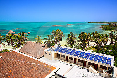 Building with a solar panel on the Isla Contoy