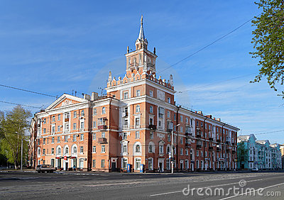 Building with spire in Komsomolsk-on-Amur. Russia Editorial Stock Photo
