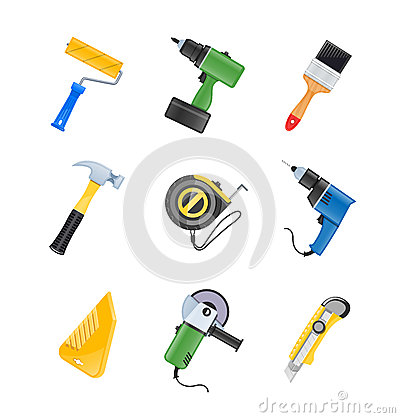 Building tool icon set