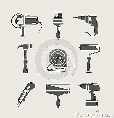 Building tool icon set
