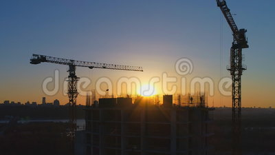 Building under construction with workers stock video footage