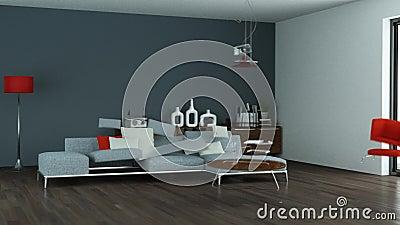 Building up modern living room interior design 3d. Animation royalty free illustration