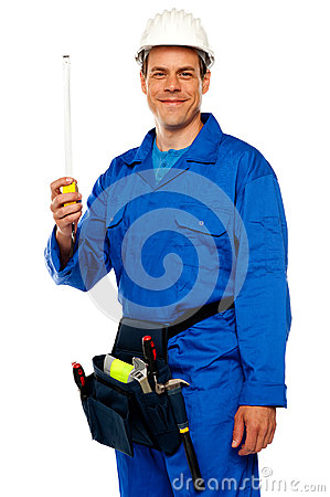 Free Building Worker Holding Measuring Tape Stock Images - 25883754
