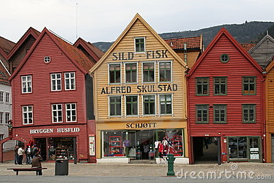 Buildings along Bryggen, Bergen, Norway Editorial Stock Image