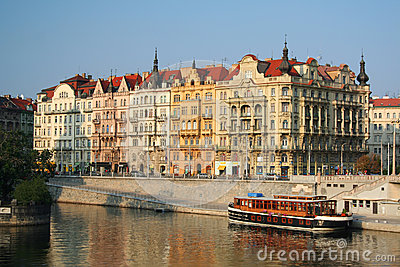Buildings along the Vltava River in Prague