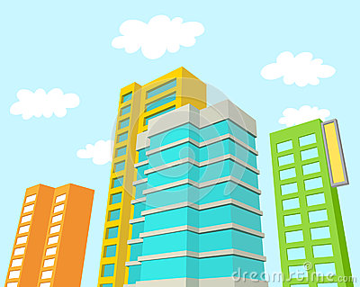 Buildings with blue sky and clouds