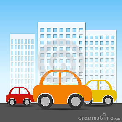 Buildings and car