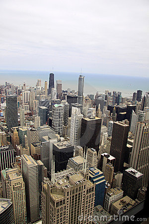 Buildings of Chicago viewed from an elevation
