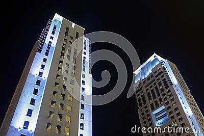 Buildings in dubai at night
