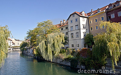 Buildings facing the river in Ljubljana