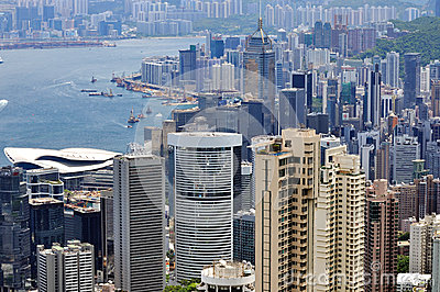 Buildings in Hongkong city and Victoria harbor Editorial Image