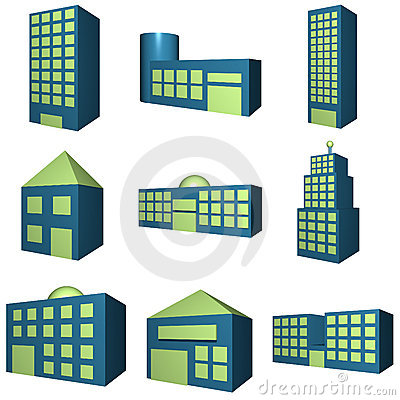 Buildings Icon Set in 3d