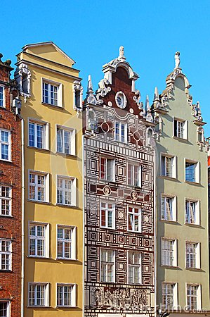 Buildings on Long Market street in Gdansk