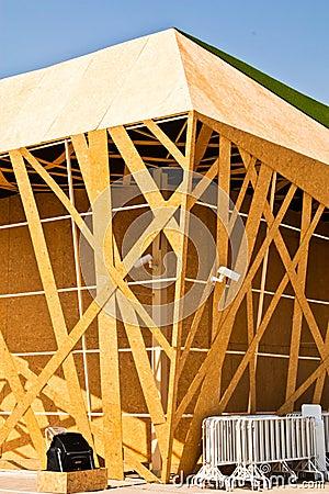 Buildings made of wood.
