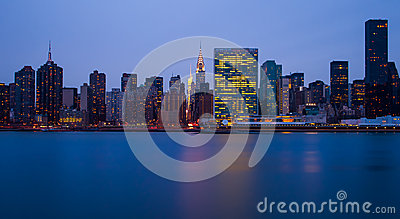 The buildings of manhattan in front of east river