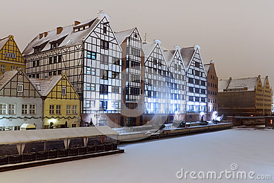 Buildings at Motlawa river in winter scenery