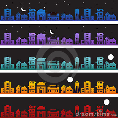 Buildings at Nighttime Background Set