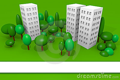 Buildings render with trees and blank banner