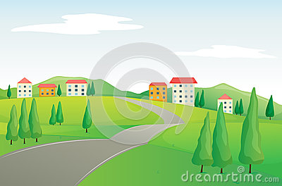 Buildings and road