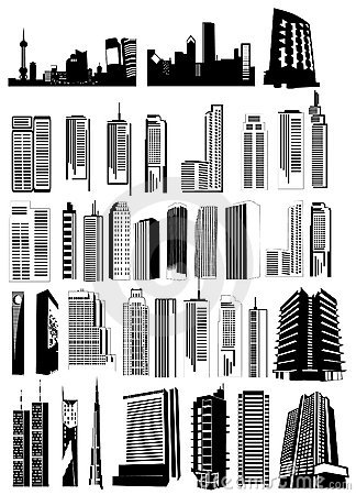Buildings shapes vector
