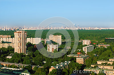 Buildings at sunny morning in district of Moscow
