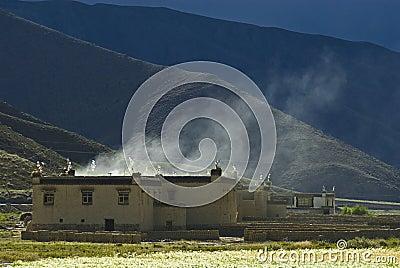 Buildings in Tibetan mountains