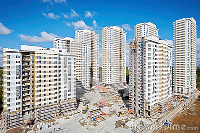 Buildings under construction of residential complex Editorial Photo