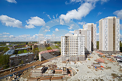 Buildings under construction of residential compound Editorial Stock Image