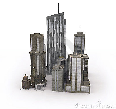 Buildings on white