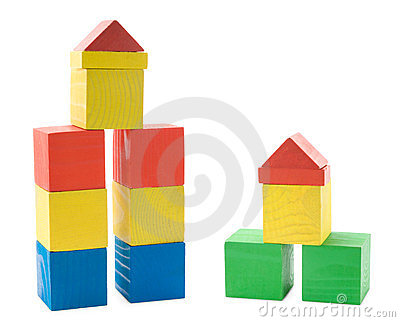 Buildings from wooden blocks