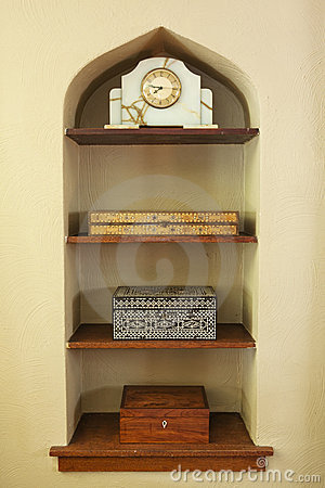 Built-in Shelf with Decorations