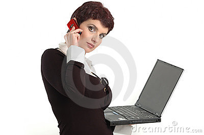 Buisness women with laptop and mobile phone