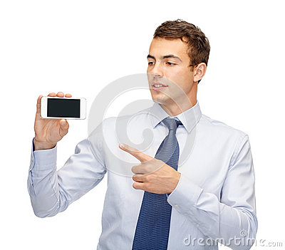 Buisnessman with blank screen smartphone