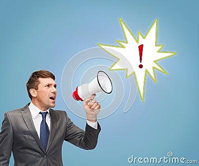 Buisnessman with bullhorn or megaphone