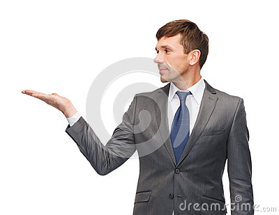 Buisnessman or teacher showing something