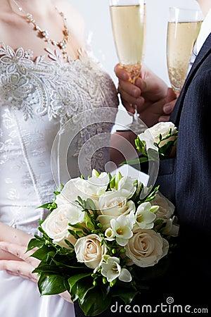 Buketten blommar bröllopwhite