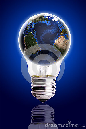 Bulb with globe blue black gradient background,Earth Map and Globe shape courtesy of NASA.