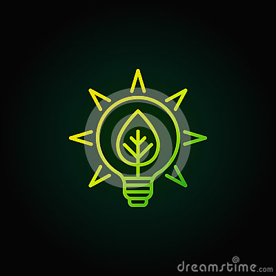 Bulb with leaf green icon Vector Illustration