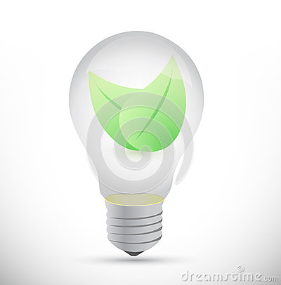 Bulb and leaves illustration design