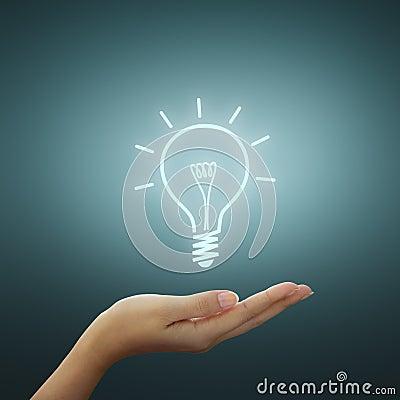 Bulb light drawing on hand