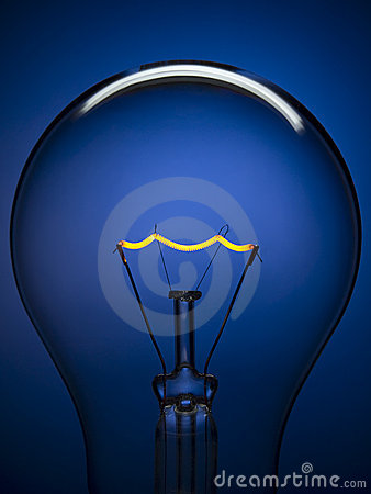 Free Bulb Light Over Blue Royalty Free Stock Photography - 10409097