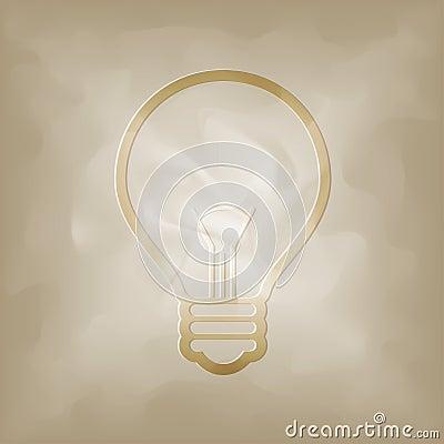 Bulb symbol on vintage crumpled
