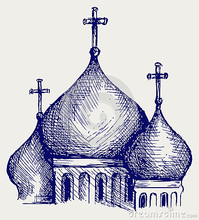 The bulbous domes of orthodox cathedral temple